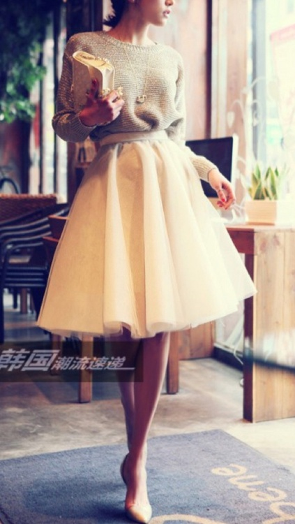 Una falda de bailarina a media pierna...