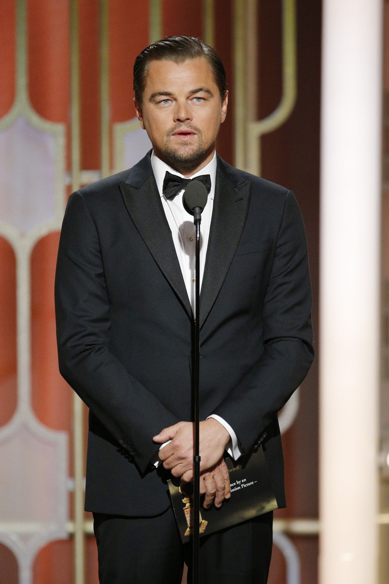 BEVERLY HILLS, CA - JANUARY 08: In this handout photo provided by NBCUniversal, presenter Leonardo DiCaprio onstage during the 74th Annual Golden Globe Awards at The Beverly Hilton Hotel on January 8, 2017 in Beverly Hills, California. (Photo by Paul Drinkwater/NBCUniversal via Getty Images)